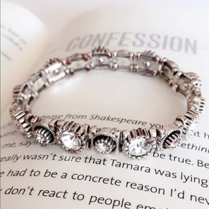 #A208 Silver Zircon Stretchable Bracelet